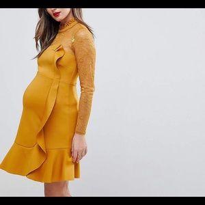 Women's Yellow Asos Ruffle Maternity Dress Size 10